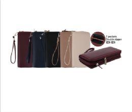 144 Units of CC Wallet Dual Zipper Plain Smooth - Wallets & Handbags