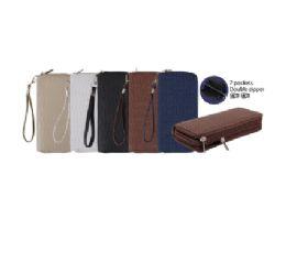 144 Units of CC Wallet Dual Zipper Textured Waves - Wallets & Handbags