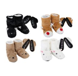 24 Units of Cozy House Booties Animals Words Bottom - Women's Slippers