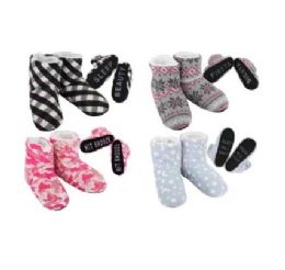 20 Units of Cozy House Booties Assorted Words Bottom - Women's Slippers