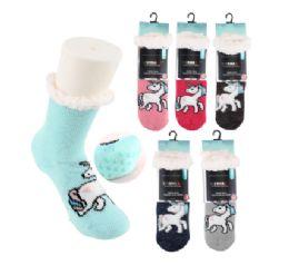 72 Units of Thermaxxx Sherpa Socks w/Non-Slip Bottom Kids Unicorn - Girls Socks & Tights