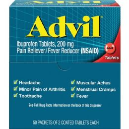 24 Units of Advil Pain Reliever Single Dose Packets 50 Pack - First Aid and Hygiene Gear