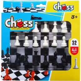 48 Units of 32pc Chess Play Set In Pegable Window Box - Dominoes & Chess