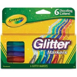72 Units of Crayola 6 Color Glitter Markers - Markers
