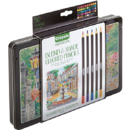 12 Units of Crayola 50 Count Signature Blend & Shade Colored Pencils In Decorative Tin - Office Supplies
