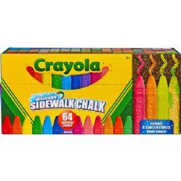 36 Units of Crayola Sidewalk Chalk 64 Count Washable anti-roll sticks - Office Supplies