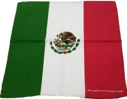 600 Units of Country Theme Cotton Bandanas In Mexican Flag - Bandanas