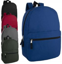24 Units of 17 Inch Solid Backpack - Backpacks 17""