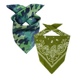 144 Units of Camo And Olive Green 22x22 Inch Cotton Bandanna 2 Colors Only - Bandanas