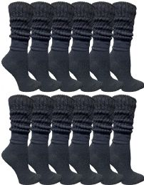 60 Units of Yacht & Smith Womens Cotton Slouch Socks, Womans Knee High Boot Socks (Black, 60 Pack) - Womens Crew Sock