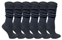 6 Units of Yacht & Smith Womens Cotton Slouch Socks, Womans Knee High Boot Socks (Black, 6 Pack) - Womens Crew Sock