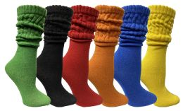 6 Units of Yacht & Smith Womens Cotton Slouch Socks, Womans Knee High Boot Socks (Assorted, 6 Pack) - Womens Crew Sock