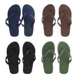 96 Units of Men's Solid Color Flip Flops - Men's Flip Flops and Sandals