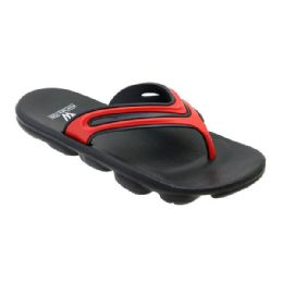 48 Units of Mens Sport Sandals In Black And Red - Men's Flip Flops and Sandals
