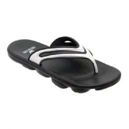 48 Units of Mens Sport Sandals In Black And White - Men's Flip Flops and Sandals