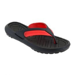 48 Units of Mens Thong Sandals In Black And Red - Men's Flip Flops and Sandals