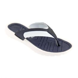 48 Units of Mens Thong Sandals In White And Navy - Men's Flip Flops and Sandals