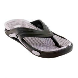 48 Units of Mens Thong Sandals In Black And Grey - Men's Flip Flops and Sandals