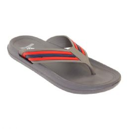 36 Units of Mens Sandals In Gray And Red - Men's Flip Flops and Sandals
