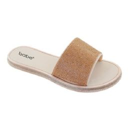 30 Units of Women's Rhinestone Slide In Gold - Women's Sandals