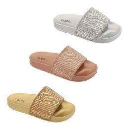 30 Units of Women's Rhinestone Slide In Rose Gold - Women's Sandals