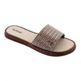 40 Units of Women's Rhinestone Slide In Brown - Women's Sandals