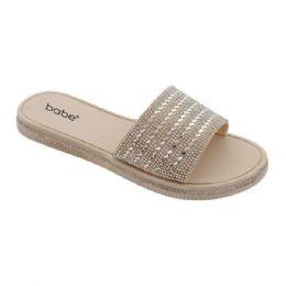 40 Units of Women's Rhinestone Slide In Gold - Women's Sandals