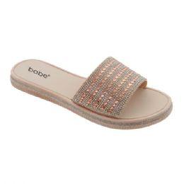 40 Units of Women's Rhinestone Slide In Rose Gold - Women's Sandals