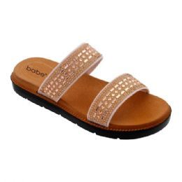 30 Units of Womens Rhinestone Double Band In Rose Gold - Women's Flip Flops