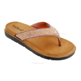 30 Units of Women Rhinestone Sandals In Rose Gold - Women's Flip Flops
