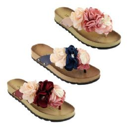 30 Units of Women's Fashion Flowers Sandals Assorted Color - Women's Flip Flops