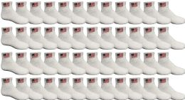 48 Units of 48 PACK Yacht & Smith Kids Cotton White USA Ankle Socks Size 6-8 Wholesale Bulk Packs - Boys Ankle Sock