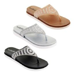 30 Units of Women's Jeweled Thong Sandals In Assorted Color - Women's Flip Flops