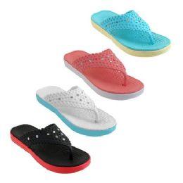 40 Units of Women's Slippers with Rhinestones Assorted Color - Women's Flip Flops
