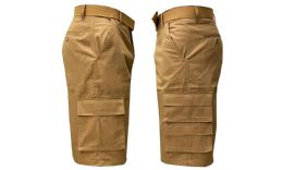 24 Units of Men's Relaxed Fit 7-Pocket Belted Cargo Shorts Timber - Mens Shorts