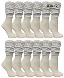 12 Units of Yacht & Smith Womens Cotton Slouch Socks, Womans Knee High Boot Socks (white, 12 Pack) - Womens Crew Sock
