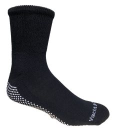 60 Units of Yacht & Smith Black Rubber Grip Bottom Loose Fit Slipper Sock Size 10-13 - Mens Crew Socks
