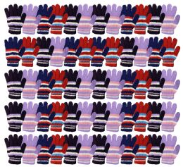 72 Units of Yacht & Smith Womens Warm Assorted Colors Striped Fuzzy Gloves - Winter Gloves