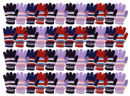 48 Units of Yacht & Smith Womens Warm Assorted Colors Striped Fuzzy Gloves - Winter Gloves