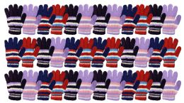 36 Units of Yacht & Smith Womens Warm Assorted Colors Striped Fuzzy Gloves - Winter Gloves