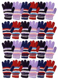 24 Units of Yacht & Smith Womens Warm Assorted Colors Striped Fuzzy Gloves - Winter Gloves