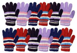 12 Units of Yacht & Smith Womens Warm Assorted Colors Striped Fuzzy Gloves - Winter Gloves