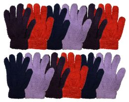 12 Units of Yacht & Smtih Womens Assorted Colors Warm Fuzzy Gloves - Fuzzy Gloves