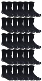 60 Units of Yacht & Smith Mens Loose Fit Gripper Bottom Non-Skid Slipper Socks ,Yoga, Trampoline Socks Solid Black	 - Mens Crew Socks