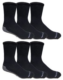 6 Units of Yacht & Smith Mens Loose Fit Gripper Bottom Non-Skid Slipper Socks ,Yoga, Trampoline Socks Solid Black	 - Mens Crew Socks