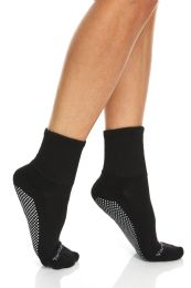 120 Units of Yacht & Smith Womens Loose Fit Gripper Bottom Non-Skid Slipper Socks ,Yoga, Trampoline Socks Solid Black, Size 9-11 - Womens Crew Sock