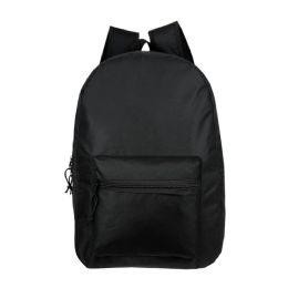 "24 Units of 15"" Kids Basic Black Wholesale Backpacks - Backpacks 15"" or Less"