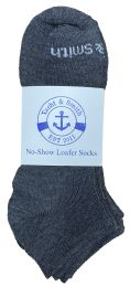 48 Units of Yacht & Smith Mens 97% Cotton Low Cut No Show Loafer Socks Size 10-13 Solid Gray - Mens Ankle Sock