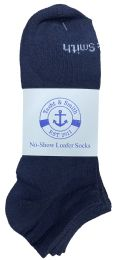 48 Units of Yacht & Smith Mens 97% Cotton Light Weight No Show Ankle Socks Solid Navy - Mens Ankle Sock
