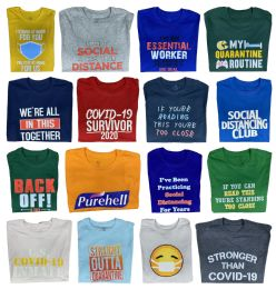 72 Units of Mens And Womens Unisex Covid-19 Saying T shirts 100% Cotton First Quality - Size Medium - Mens T-Shirts